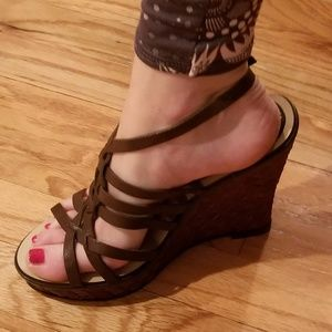 Brown 4 inch wedge strappy sandals